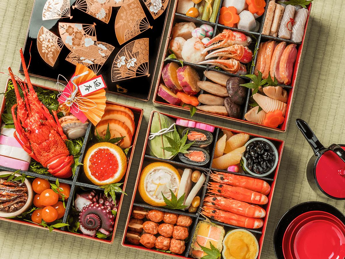 Osechi, plato típico japonés que se toma a principios de año. Está compuesto por diferentes platos.
